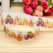 7/8'' Free shipping easter printed grosgrain ribbon hair bow headwear party decoration wholesale OEM 22mm H4573