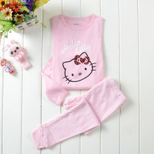 2-7Y Baby boys girls Clothing sets Kids Hello Kitty Pajamas Todder Nightwear Comfortable Long Sleeve Children Nightclothes