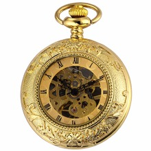 Vintage Roman Skeleton Golden Hunter Movement Hand Winding Relogio Clock Jewel Chain Fob Pendant Mechanical Pocket Watch /WPK203