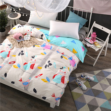 2017New Cartoon white duvet cover 100% cotton kids adult twin full queen king size bedding Good quality quilts blanket case(China)