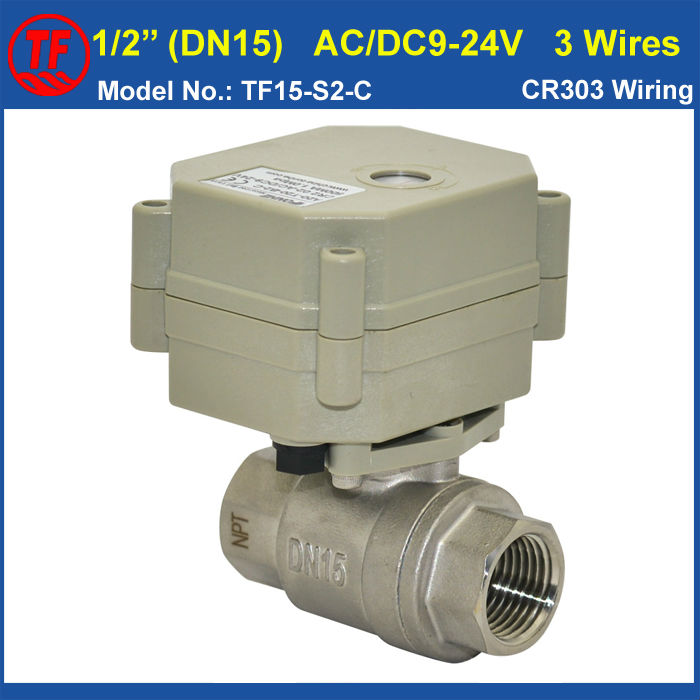 AC/DC9-24V 3 Wires DN15 Motorized Ball Valve TF15-S2-C 2-Way Automated Valve Stainless Steel BSP/NPT 1/2 For Water Control<br>