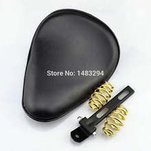 "Leather Solo Seat w/ 3"" Gold Spring Bracket fits for Harley Davidson Sportster Softail Chopper Bobber Custom(China)"