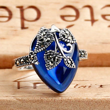 Vintage blue corundum jade unique antique cocktail party rings sterling silver 925 fashion retro for ladies