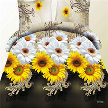 "3D Bedclothes "" Sunflower"" 4pcs Bedding Sets King Or Queen Reactive Print(China)"