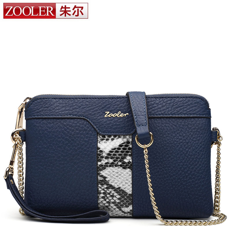 ZOOLER Brand Genuine Leather Womens Envelope Clutch Bag Chain Crossbody Bag for Women Handbag Messenger Bag Lady Snake Clutches<br>