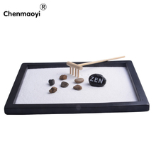 100% hand make wood craft zen garden zen sandbox office ornament home decoration accessories relax craft valentine's day gift(China)