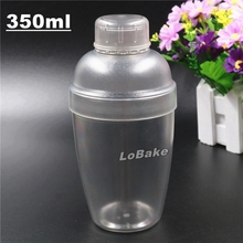 Latest 350ml PC Polycarbonate cocktail shaker wine custom protein shaker bottle with measure gauge wine & milk tea tools