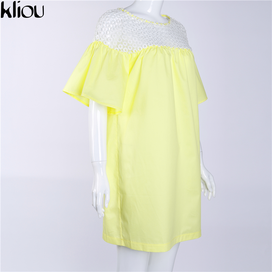 Kliou 2017 summer beach dress ladies flare sleeve sexy short dresses women casual slim dress beachwear patchwork mesh lace dress