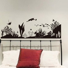 Under The Sea Wall Sticker Vinyl Marine Life Coral Silhouette Fish Decals For Kids Room Vintage Home Decoration For Living Room(China)