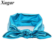 Hot Sale Rabbit Bunny Ear Headband Solid Stretch Lovely Headbands For Kids Girls Cute Leather Head Band Hair Accessories(China)