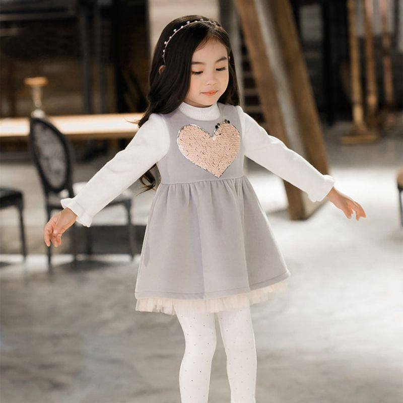 YNB Children clothes girls Spring Autumn sleeveless wool vest dresses kids girl gray woolen dress with sequin love.<br>