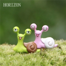 New1pair Fairy Garden Dollhouse Toys Mini Snails Micro potted landscape & bonsai Accessories Ornaments Figurine Decor(China)