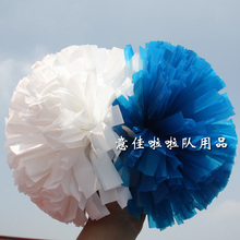 "10pcs Cheerleading pom 1,000*3/4"" wide streamers plastic light blue and plastic white half style(China)"