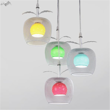 JW America Creative Colorful Apple Glass Pendant Lamp 4 Heads Cage Chandelier Bedroom Restaurant Cafe Indoor Lighting Decoration(China)