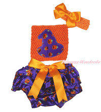 Halloween Orange Baby Crochet Tube Top Purple Pumpkin Hat Bloomer 3PC Set NB-3Y MAPSA0856(Hong Kong)