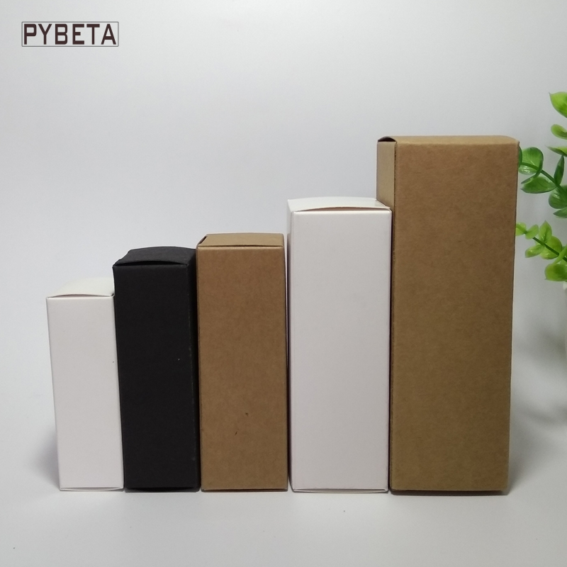 100pcs-10ml/15ml/20ml/30ml/50ml/100ml White Black Kraft Paper Box for Essential Oil Sprays sample Gift valve tubes package(China)
