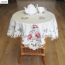 vezon New Hot Elegant Design Polyester Satin Embroidery Floral Tablecloth Orange Flower Embroidered Table Topper Cloth Cover(China)