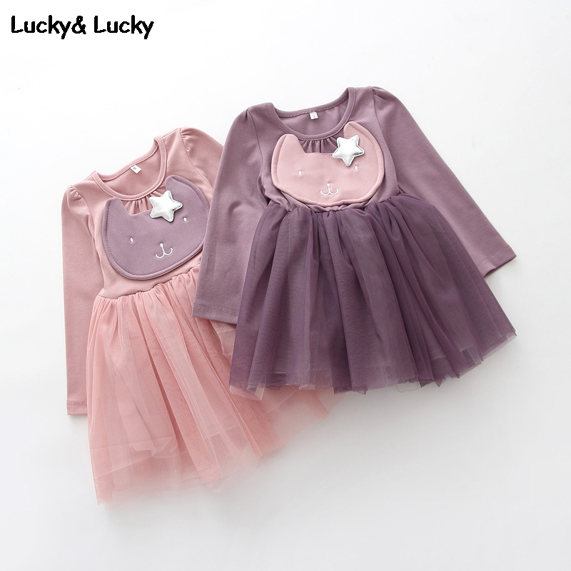 Fashion girls dress cat printed long sleeve party dress veil dresses for girls casual costume for kids <br><br>Aliexpress