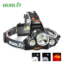 Super Bright Boruit RJ-3000 Flashlight Head Lamp White + Red Led Light 3000LM 3 Modes Waterproof with Charger for Fishing Caving(China)