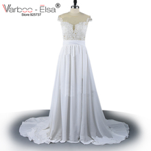 Vintage Chiffon Beach Wedding Dress Summer White Cap Sleeves V Neckline Fitted Split Boho Wedding Dress 2017 Robe De Mariage(China)
