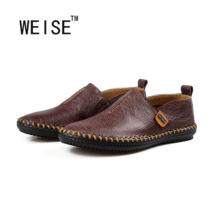WEISE Quality Genuine Leather Shoes Men Flat Shoes Soft And Breathable Men Loafers Comfortable Minimalist Design Oxford Shoes<br><br>Aliexpress