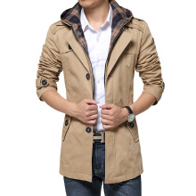 New Style Mens Trench Coat Fashion Single Breasted Removable Hooded Slim Long Trench Coat Men Casual Mens Long Coat With A Hood