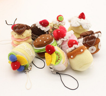 Sweet 10pcs 4CM Approx. MIX Designs Little Mini Cakes Plush Stuffed DOLL TOY ; String Pendant Cake Plush TOY Gift DOLL