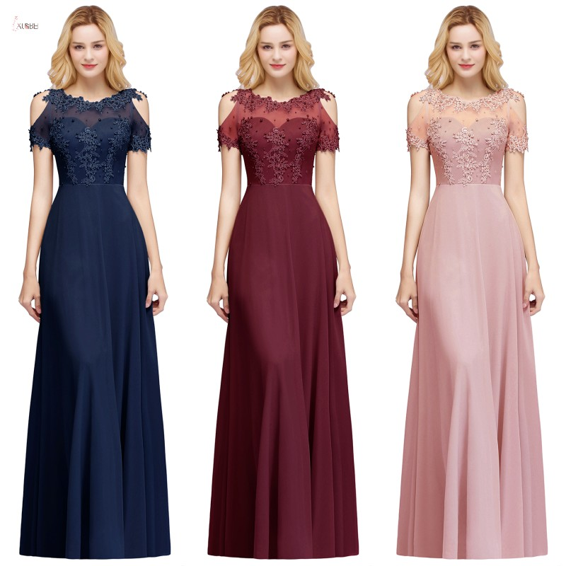 Bridesmaid-Dresses Party-Gown Navy Chiffon Wedding-Guest Burgundy Long Neck Scoop Madrinha title=