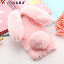Vonada Plush Case Doogee Shoot 2 X20 X30 BL7000 BL5000 Soft Fur Cute 3D Bunny Rabbit Ears Cover TPU Diamond Phone Case Cover