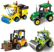 4pcs/lot City Series Construction machinery Road Roller Forklift Truck Sweeper Truck Building Blocks Toys Compatible With lepin