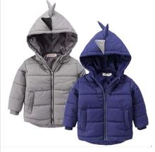 New Autumn Winter Children Clothing Dinosaur Design Boys Solid Warm Outwear Baby Boys Clothes Hooded Jacket Coat Outerwear