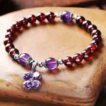 Classic Chinese Ethnic Nature Garnet Four - leaf Clover Bracelet Semi- precious Stone Beaded Bracelet With Garnet Pendant