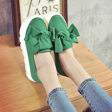 2017 Spring Moccasin Women's Flats Fashion Creepers Bow Lady Flats Loafers Ladies Slip on Platform 5CM Shoes 3 Colors 35-39