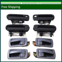 Black Outside & Gray Inside Door Handles Right Left Front Back For Toyota Camry 92-96 OE#:6922033020/6921033010/6924033010(China)