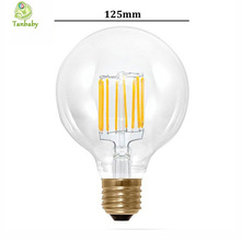 Tanbaby G125 Big Global light bulb 4W/6W/8W filament led bulb E27 clear glass Edison indoor lighting lamp AC220V