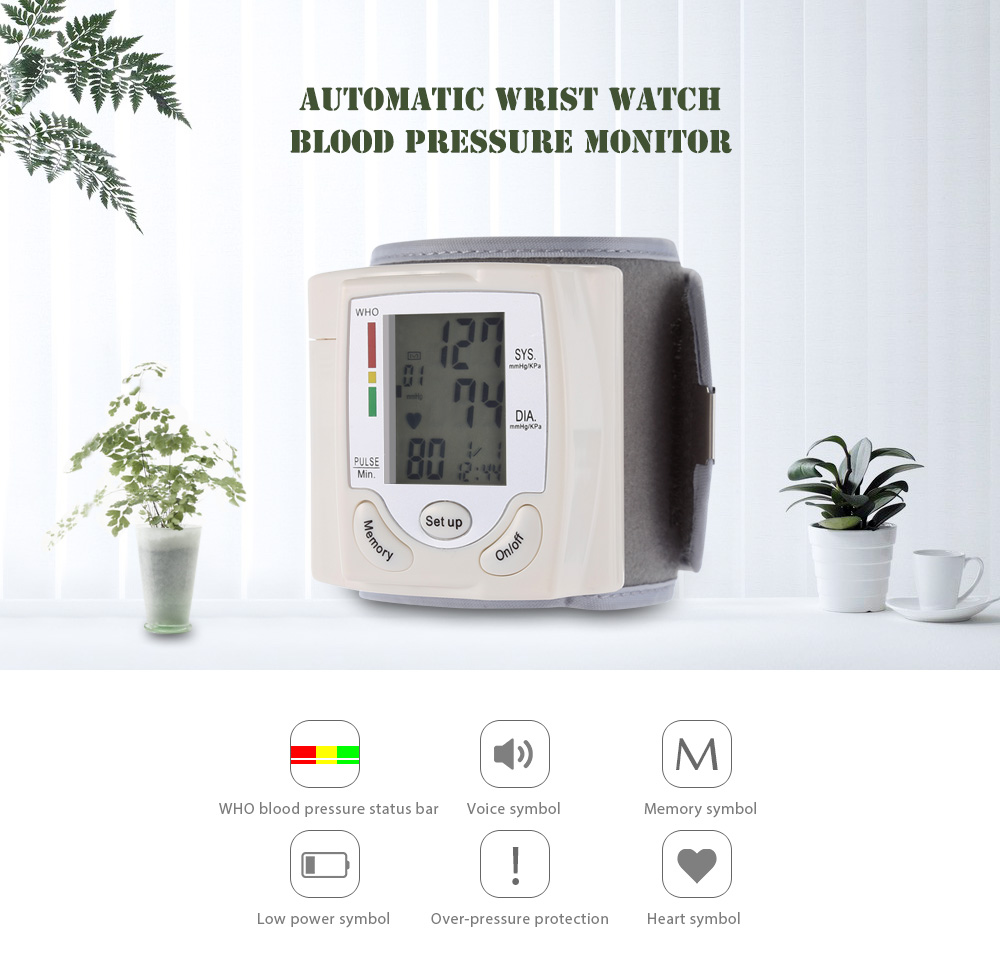 Health Care Portable Wrist Blood Pressure Pulse Meter Digital Automatic Blood Pressure Monitor Household Heart Beat Rate Measure 1