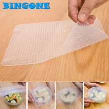 1x Reusable 19*19cm Silicone Wrap Seal Cover Stretch Cling Film Food Fresh Keep Kitchen Tool Fresh Keeping Wrap Seal Vacuum -FT(China)