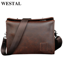 WESTAL Vintage PU Leather Men Bag Men Messenger Bags Fashion Shoulder Crossbody Bag PU Leather Handbag ipad Travel Bag New