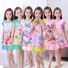 Summer girl cartoon Princess Dress small cute baby short sleeved nightgown kids home clothes homewear lovely Siamese skirt