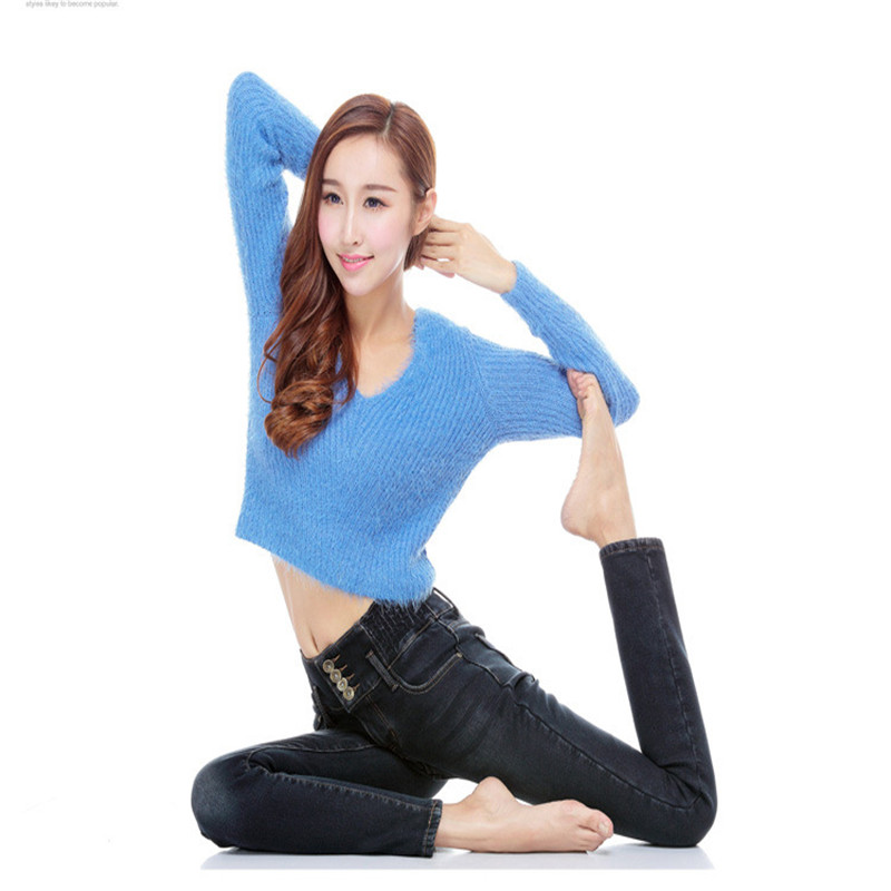 Jeans for Women Denim Pants Warm Trousers Womens Jeans with High waist Thicken Stretch Fleece Pencil Pants Skinny Jeans WomenОдежда и ак�е��уары<br><br><br>Aliexpress