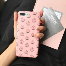 Super Korea Star Style Pink Juicy Honey Peach Phone Bags & Cases For iPhone 6 6s 7 7 Plus 6s Plus Ultra Slim Cute Fruits Case