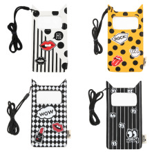 Fashionable Design Unisex Cartoon Lovely Leather Mobile Phone Case Cover New Hanging Neck Style Phones Bag For Iphone