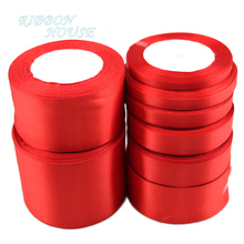 (25 yards/roll) Red Single Face Satin Ribbon Wholesale Gift Wrapping Christmas ribbons(China)