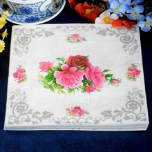 1pack FOOD GRADE Abstract pattern Napkin Paper 100% Virgin Wood red flower Tissue for Party Decoration ;