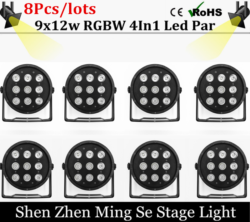 8pcs/lots  9x12W Flat LED Par Lights, 9*12w RGBW 4IN1 PAR DMX512 control disco lights professional stage DJ equipment<br>