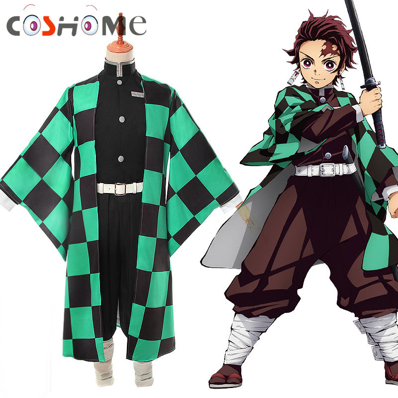 Anime Demon Slayer Cosplay Kimetsu no Yaiba Tanjiro Kamado Cosplay Costume Men Kimono for Halloween Party Outfit