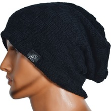 Mens Beanie Knit Cap Slouchy Skullcap Check Woolly Hat FORBUSITE(China)