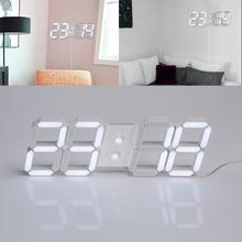2017 New USB 3D Modern Digital LED Home Wall Clock Timer 24/12 Hour Display