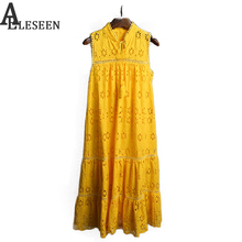 New Bohemian Active Dress 2017 Bright Yellow Sleeveless Cotton Flower Hollow out A-line Luxury Mid calf Embroidery Beach Dress(China)