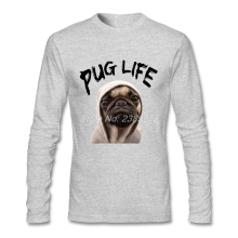 Men Tee Tops Hipster Winter Autumn Pug Life Simple Style T Shirt Brand Long Sleeve Mans T Shirts 2XL